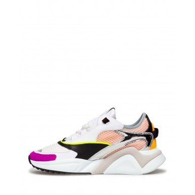 Women's Sneakers PHILIPPE MODEL Ezld Wp03 Blanc Rose Leather Canvas White