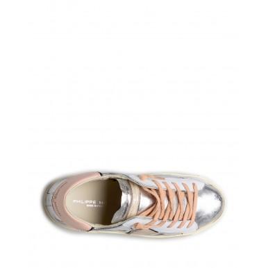 Women's Sneakers PHILIPPE MODEL Paris Prld M010 Argent Rose Leather Silver