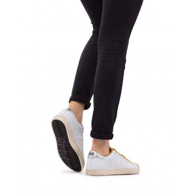 Women's Sneakers Shoes P448 John W Whi Gol Leather White