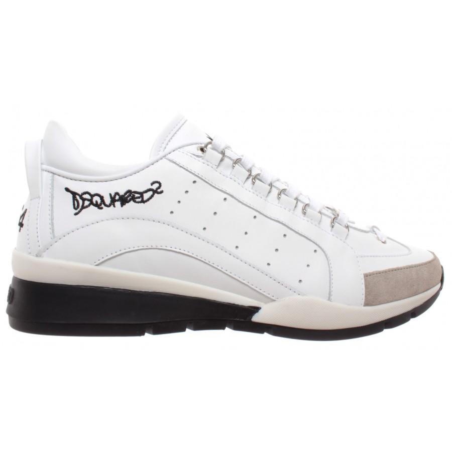 Dsquared2 Scarpe 551 Lace UP Low Top Sneakers Vitello Piping LOGATO Bianco Nero