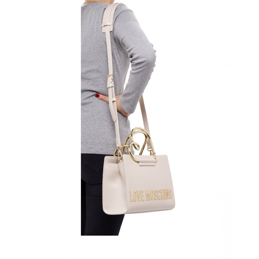 Women's Hand Shoulder Bag LOVE MOSCHINO JC4120 Pu Avorio Synthetic Ivory