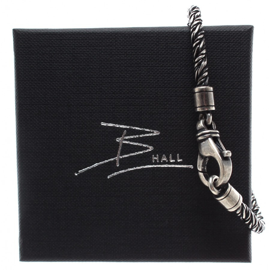 Men's Brecelet B-HALL Iron Rope Silver 925 Made In Italy New