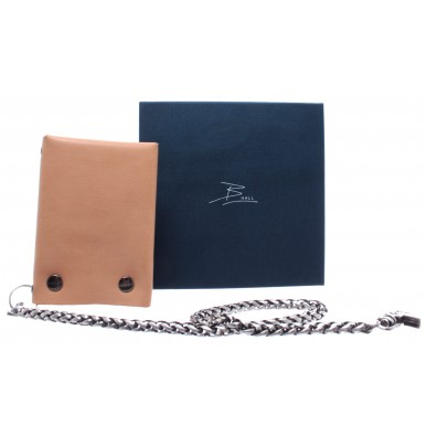 Wallet B-HALL Sand Leather Chain Brass Handmade In Italy New