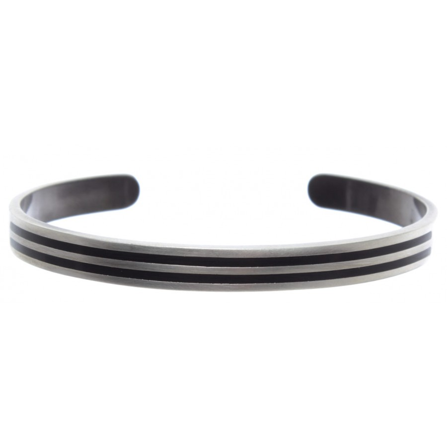 Man Bracelet B-HALL B Stripes Brass Galvanic Brushed Enamelled New