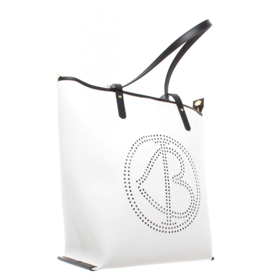 Women's Shoulder Bag BAGGHY Venezia Love Bella Shopping Bag L Rubber White New