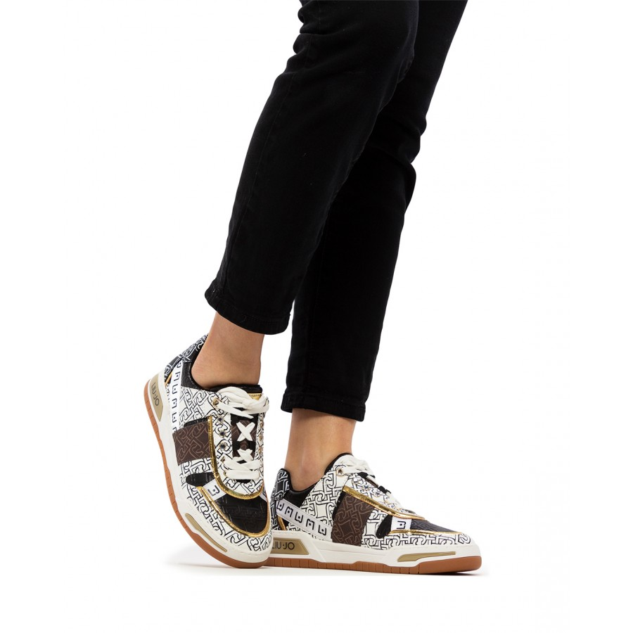 Women's Sneakers LIU JO Milano Gyn 05 White Black Synthetic Leather