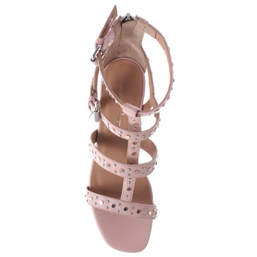 JANET & JANET Women's Shoes Sandal Heel Cleo Cipria Pink Leather New