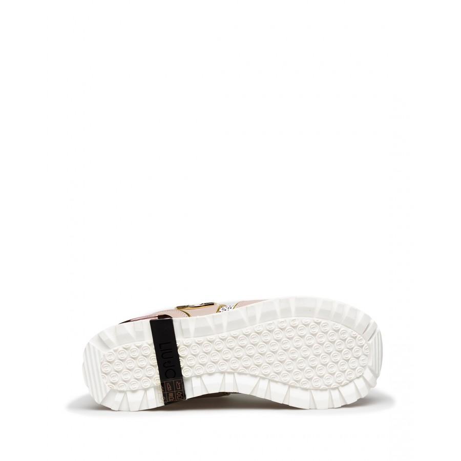 Women's Sneakers LIU JO Maxi Wonder 24 Leather Fabric Pink White