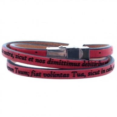 Bracelet Prayer Our Father Latin Genuine Leather Red Adjustable
