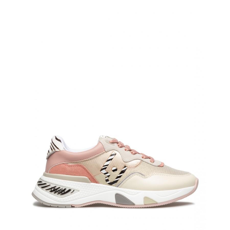 Women's Sneakers LIU JO Hoa 10 Milk Coquill Suede Fabric Pink Gold