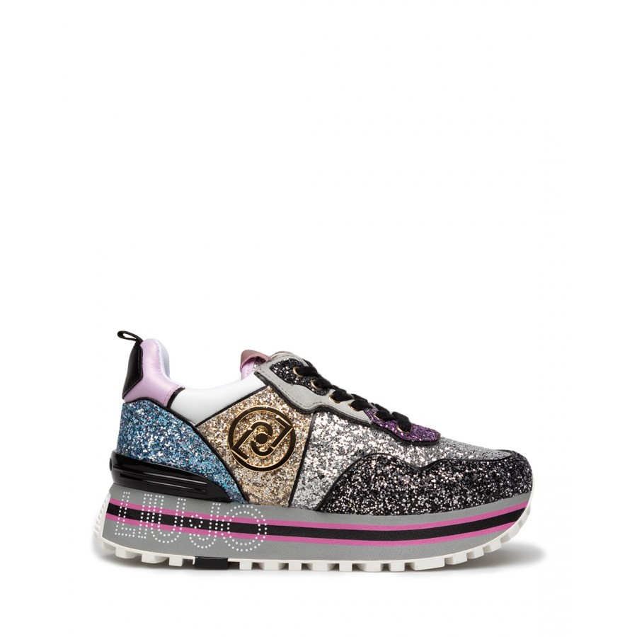 Women's Sneakers LIU JO Maxi Wonder 24 Multi Glitter Black Silver