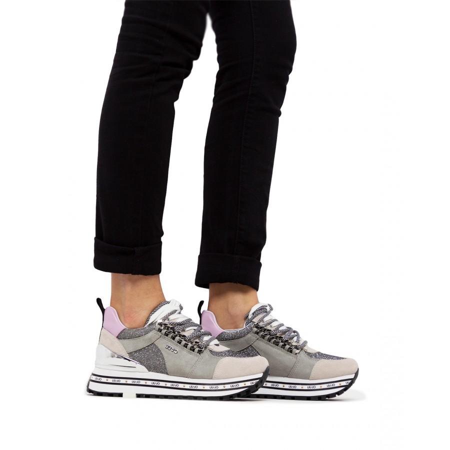 Women's Sneakers LIU JO Maxi Wonder 22 Grey Suede Fabric