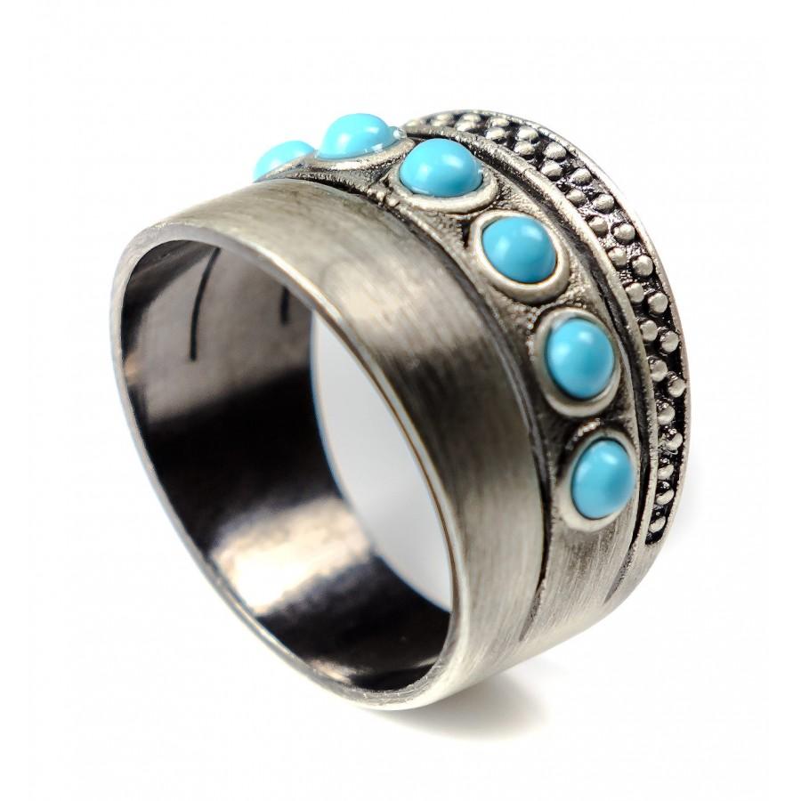 Rings Unisex B-HALL Turquoise Ring Brass Galvanic Stones Handmade In Italy New