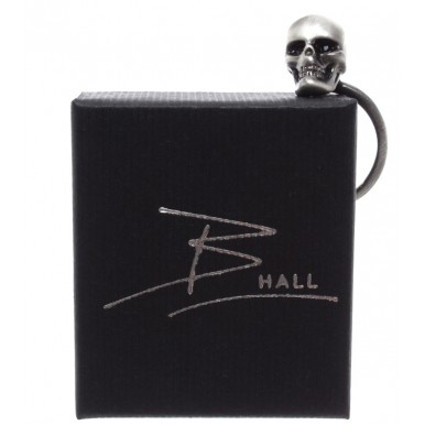 Ring Unisex B-HALL Skull Brushed Brass Galvanic Swarowsky Stones Handmade ITA