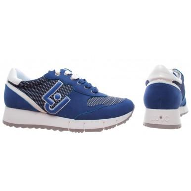 LIU JO Milano Gigi 02 Running Cow Suede Mesh Deep Blue Blu Women's Shoe Sneakers