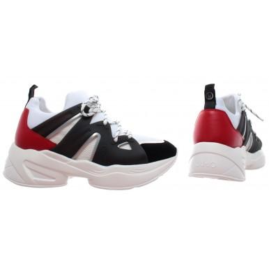 LIU JO Milano Jog 07 Socke Leder Schwarz Weiss Rot Damen Schuhe Sneakers Neu