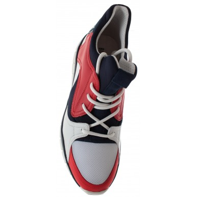 BIKKEMBERGS Men's Shoes Sneakers Bke Fighter Low Shoe M Lycra Leather Red Blue