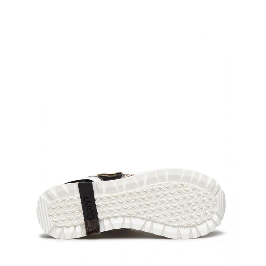 Women's Sneakers LIU JO Milano Maxi Wonder 24 White Black Leather Fabric