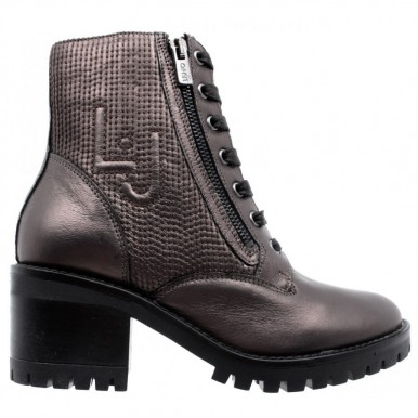 LIU JO Women's Ankle Boot Shoes Tina 01 Lace Up Booty Foiled Calf Leather Ebony