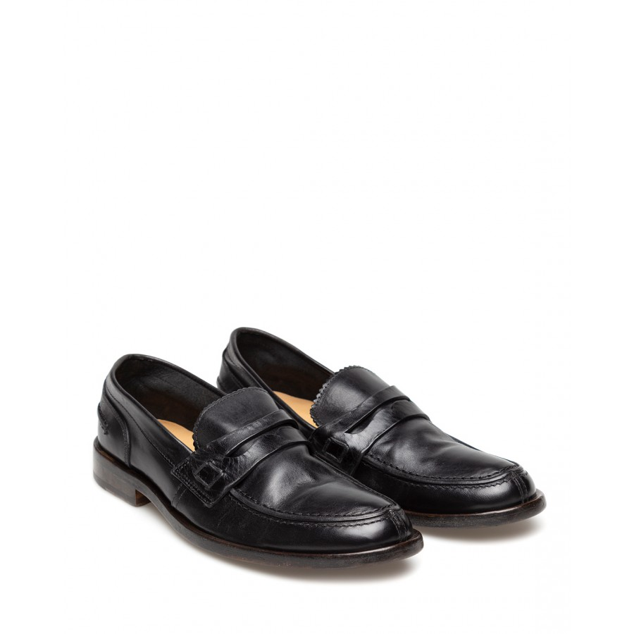 Men's Loafers Shoes MOMA 2ES016-AP Appalosa Nero Leather Black