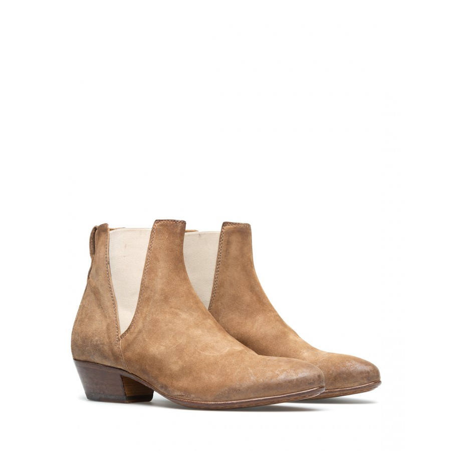 Women's Ankle Boots Shoes MOMA 1CS044-OL Oliver Taupe Suede Beige