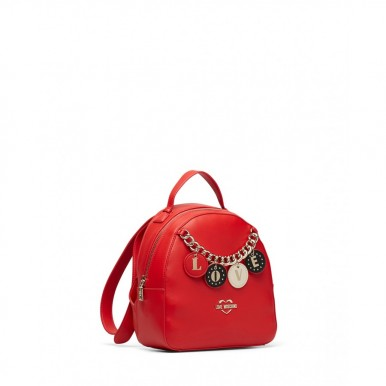 Women's Backpack LOVE MOSCHINO JC4225 Pu Rosso Leather Synthetic Red