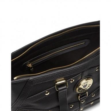Women's Shoulder Bag LOVE MOSCHINO JC4298 Grain Nero Leather Black