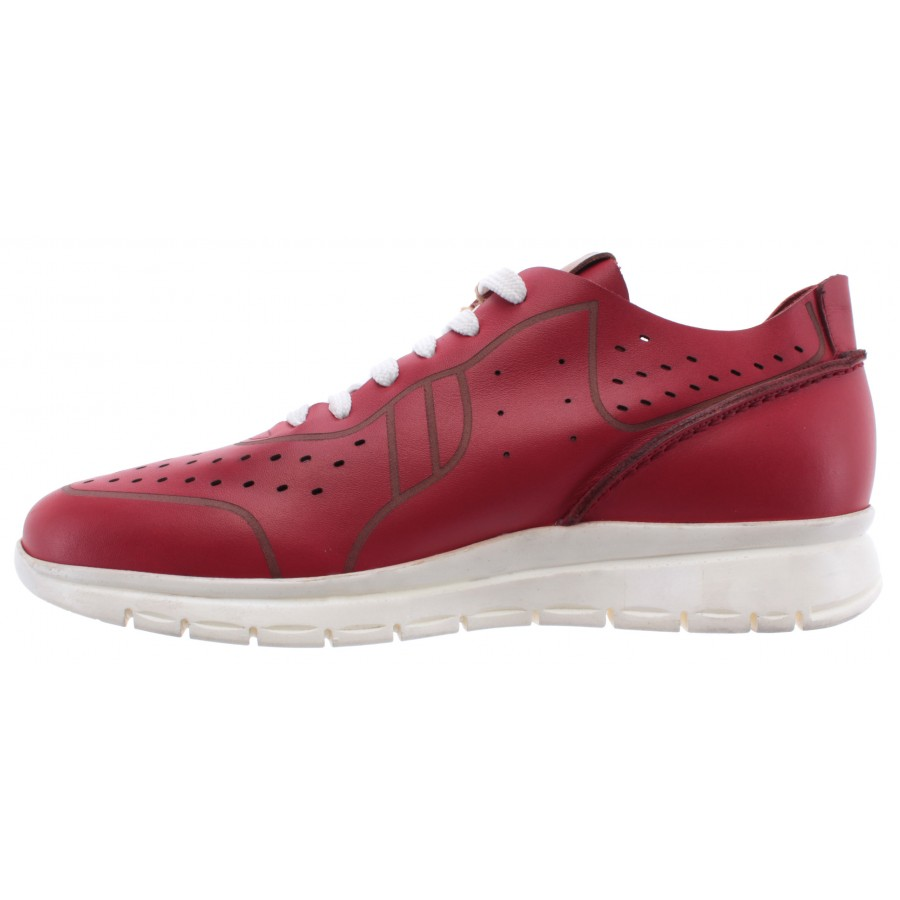 Men's Shoes ROBERTO SERPENTINI Sneakers Pelle Rossa Leather Red Comfort New