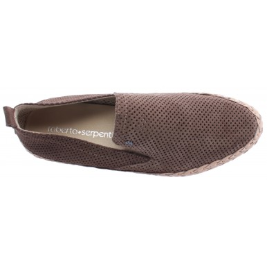 Men's Shoes Loafers ROBERTO SERPENTINI Beige Suede Vent Braided Comfort New