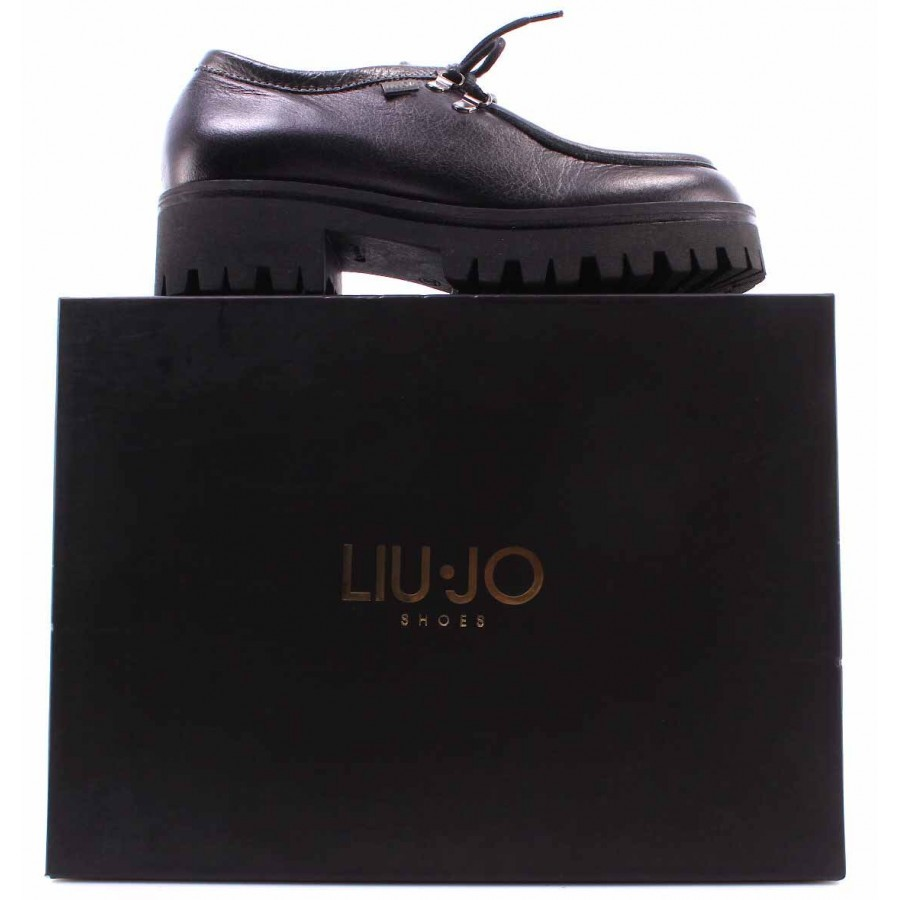 Women's Shoes LIU JO Laced Gunmetal Leather Dark Gray Made In Italy New