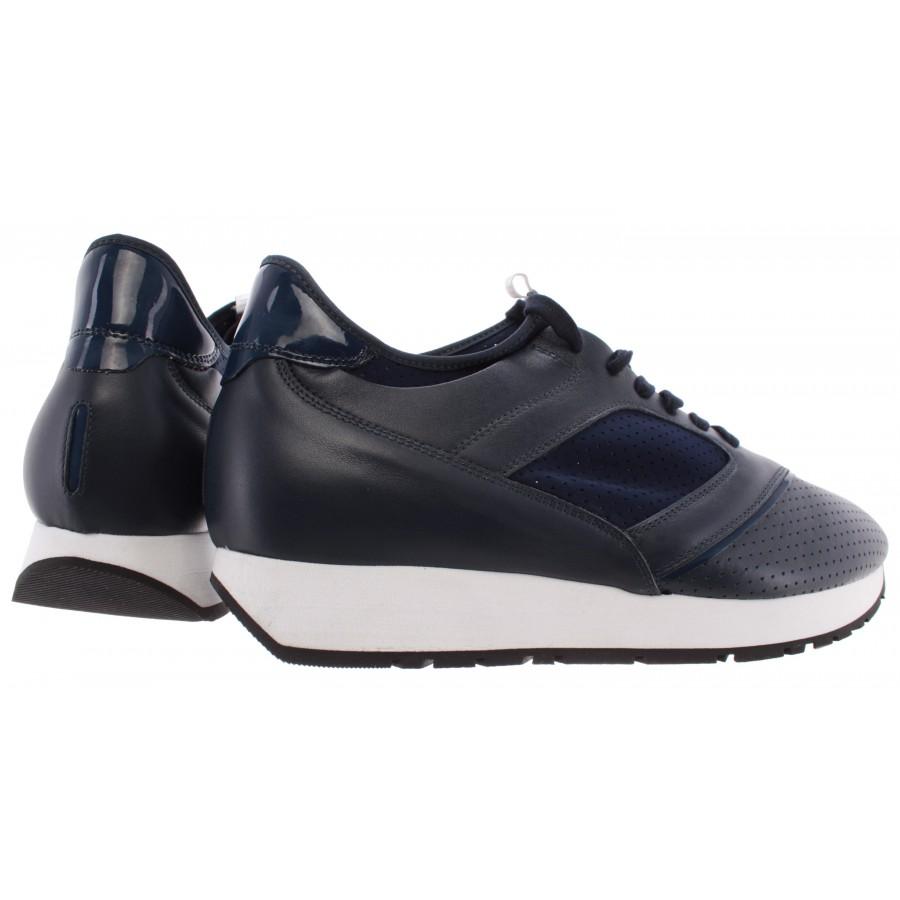 Men's Shoes Sneakers BIKKEMBERGS BKE 108692 Runner Leather Lycra Blue Italy New