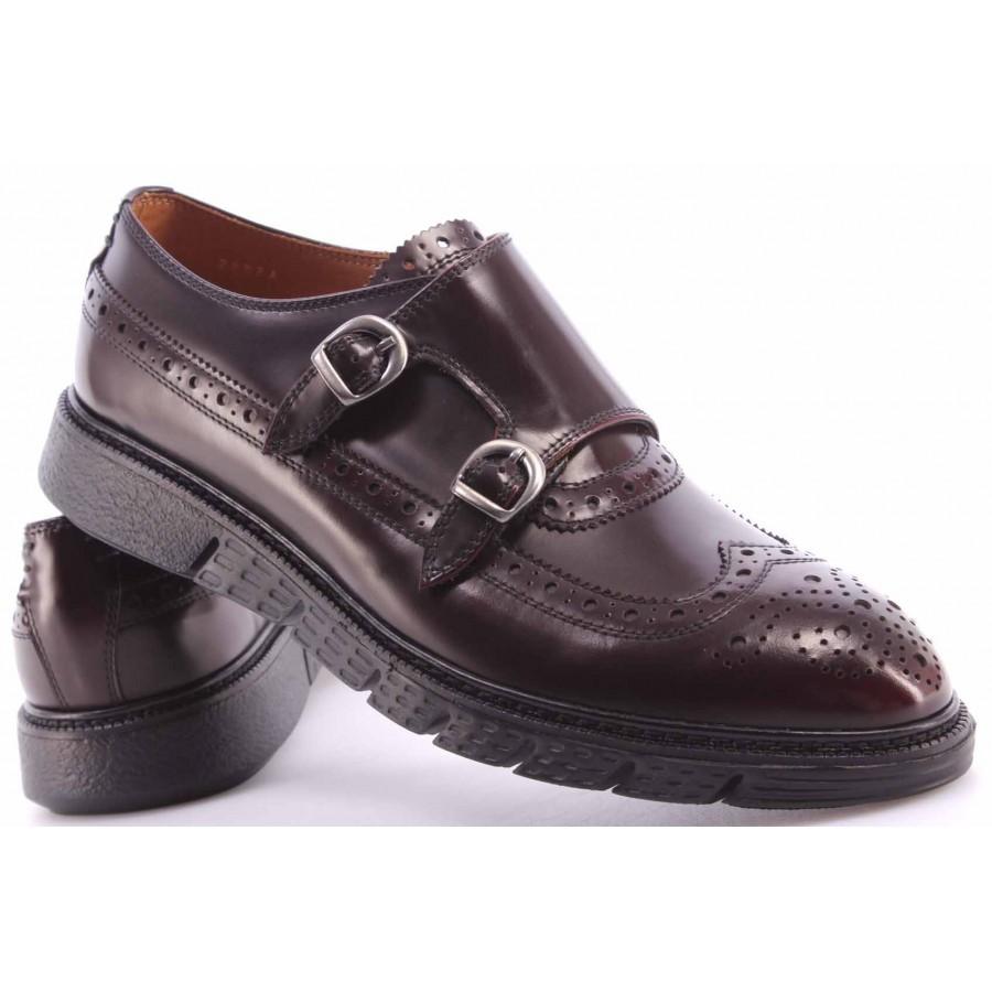 Men's Elegant Shoes BARRACUDA BU2882A Abrasivato Bordo Leather Bordeaux Buckles