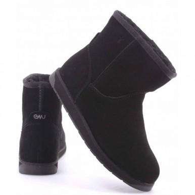 Women's Ankle Boot Shoes EMU Spindle Mini W11019 Black Noir Wool Lining Suede