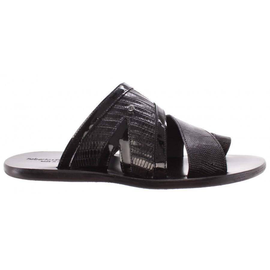 Men's Shoes Slipper ROBERTO SERPENTINI 1971 Teyus Nero Vernice Leather Black IT