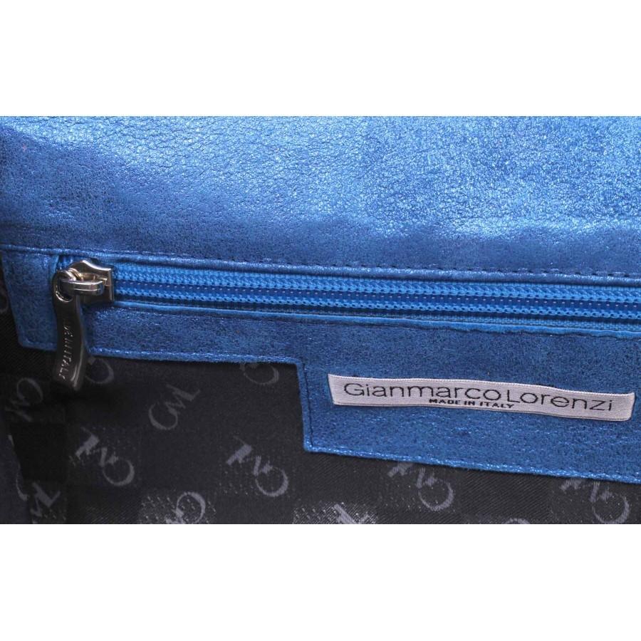 Women's Hand Bag Pochette GIANMARCO LORENZI Leather Light Blue Strass Italy New