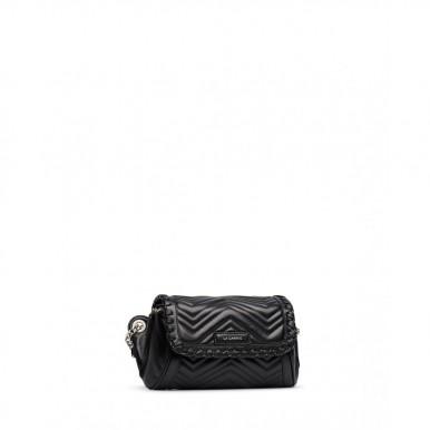 Woman's Shoulder Bag LA CARRIE 102P-BA-201 Grace Black Leather