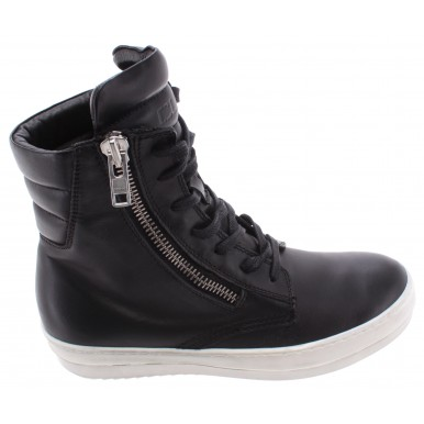 Men's Shoes Fashion High Top Sneakers CULT ACDC Leather Black Zip Laces New