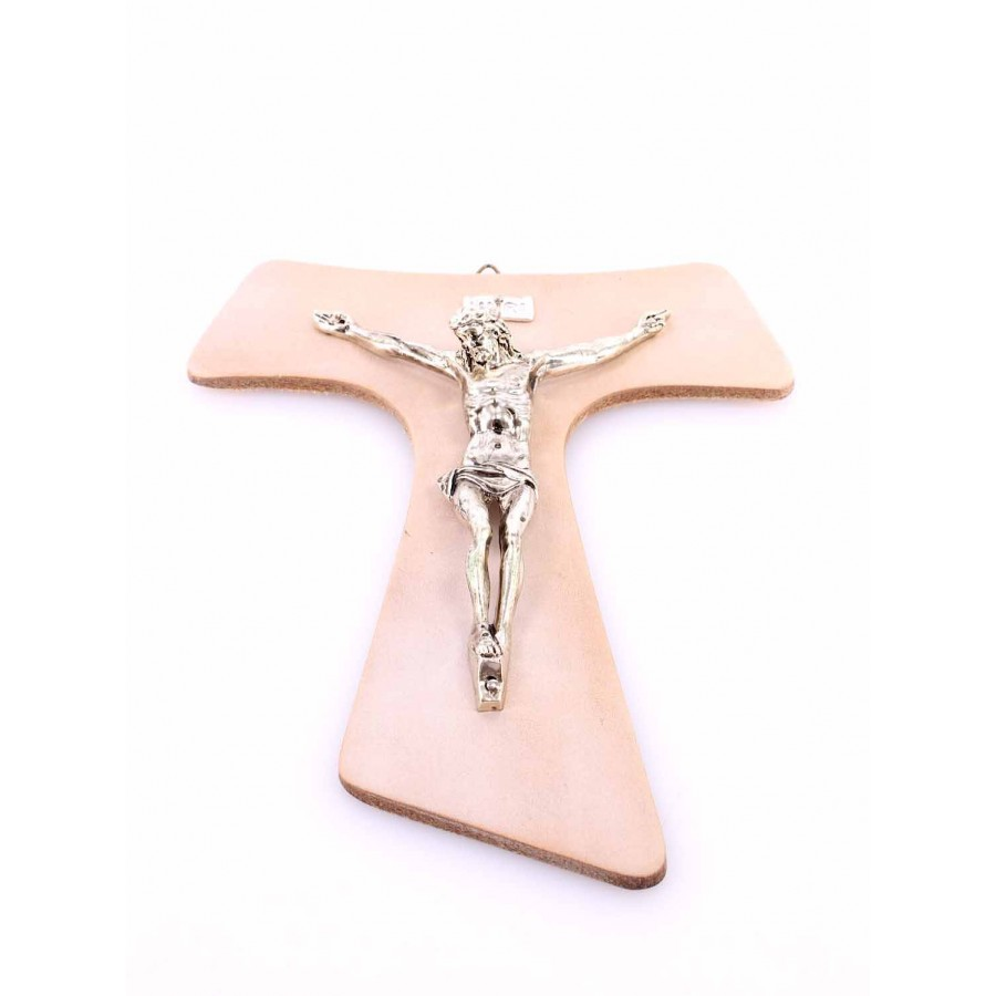 Religion Crucified Christ TAO Metal Cross True Leather Ivory Hand Made In Italy