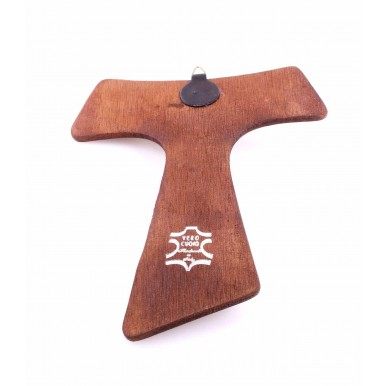 Religion Crucified Christ TAO Metal Cross Real Leather Brown Hand Made In Italy