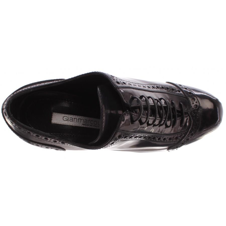 Women's Décolleté Heels Plateau Shoes GIANMARCO LORENZI Yale Grigio Nero Leath