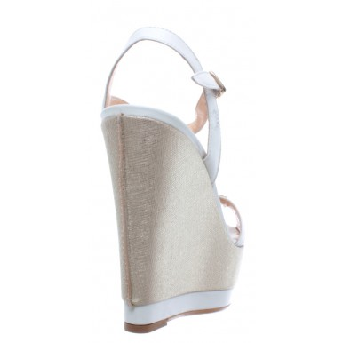 Women's Wedge Shoe LA MARTINA L8170250 Bovina Off White Saffiano Platino Leather