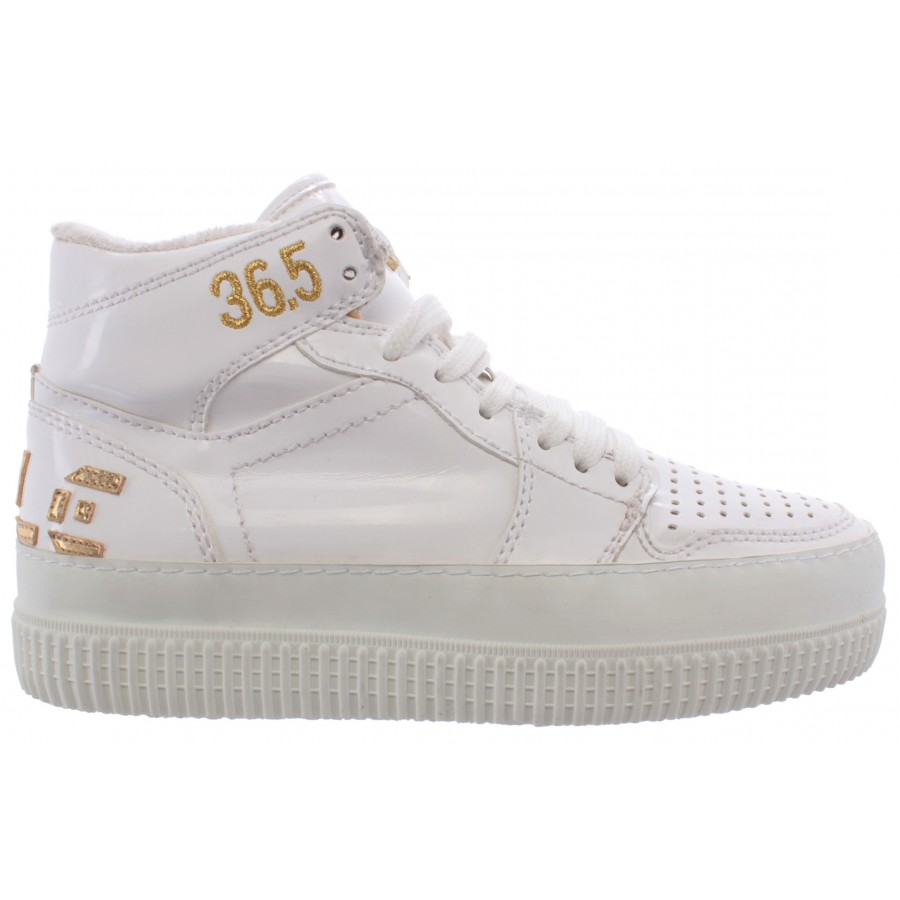Women's High Top Sneakers Shoes CYCLE 371246 Vern Bianca Lux Oro Leather White