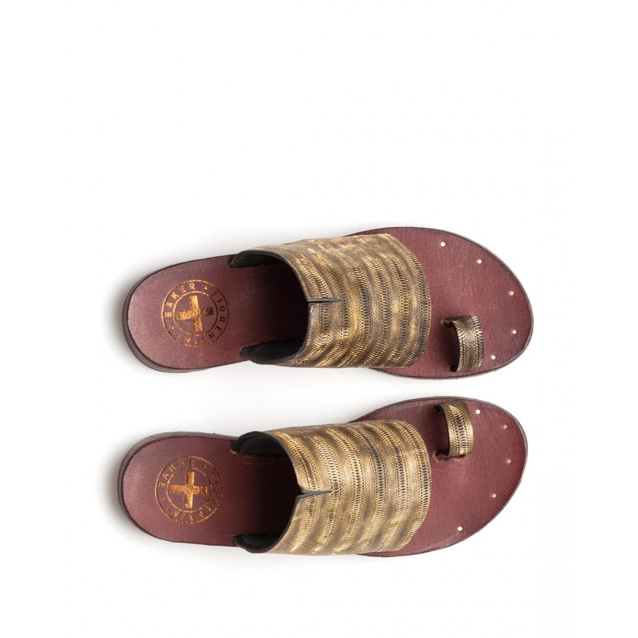 Chaussons Sandales Femmes FIORENTINI + BAKER Zeya V Prin Metal Oro Cuir Or
