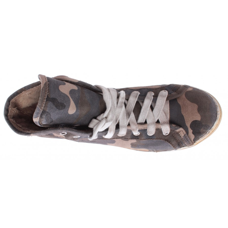 Men's Shoes High Sneakers CYCLE Canvas Military Camouflage Dark Made Italy New
