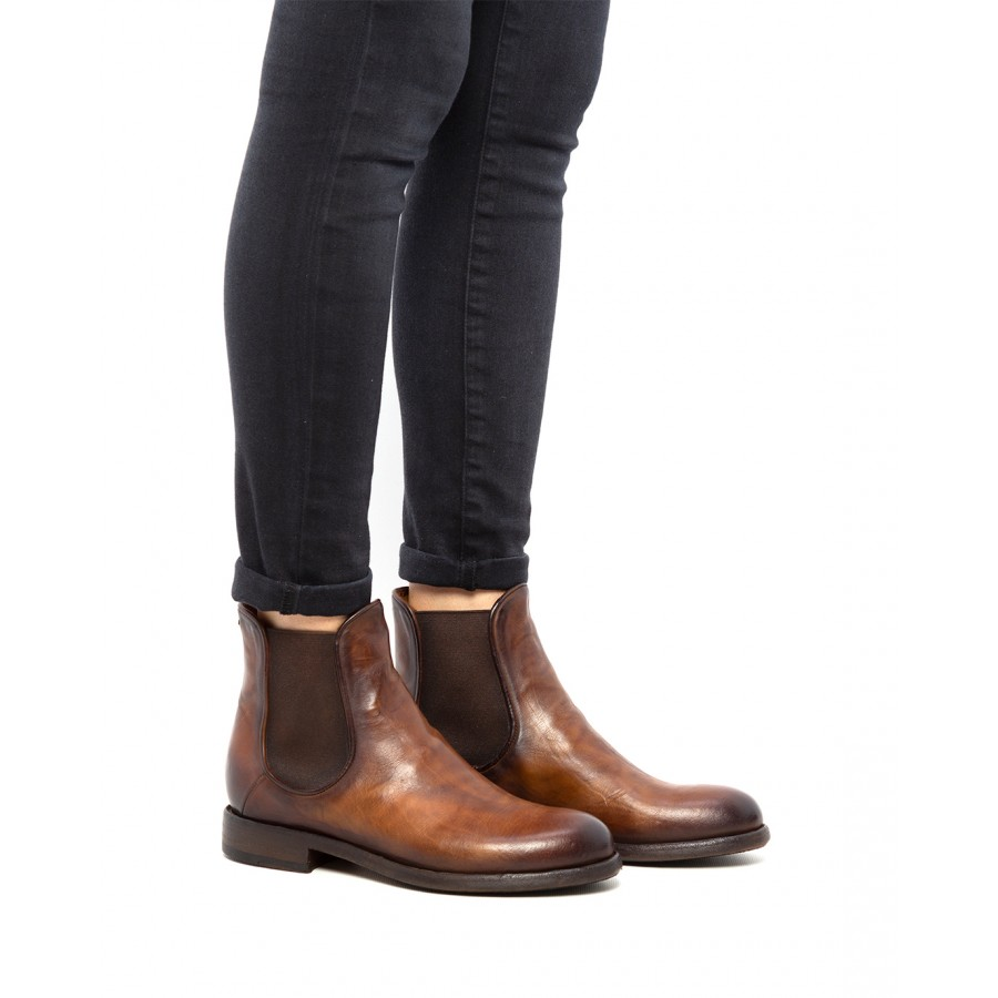 Women's Ankle Boots Shoes PANTANETTI 13764E Danill Warm Brown Leather