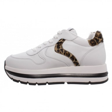 Women's Sneakers VOILE BLANCHE Maran Bianco Leo Leather Horsy White