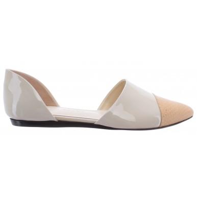 Women's Ballerinas Sandals Shoes JENNI KAYNE Leather Glossy White Real Snake New