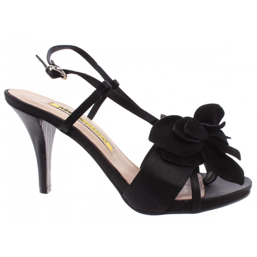 Women's Shoes Sandal Heels MANAS LEA FOSCATI Leather Black Made In Italy Luxury