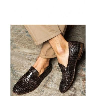 Men's Loafers PREVENTI Alexander Weaving Leather T Moro Brown