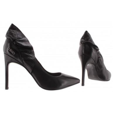 Women's Shoes Heels LIU JO Milano Milu 7 Black Decollete Leather